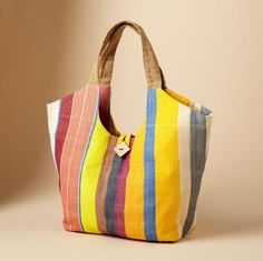 handwoven Ikat striped cotton tote - a nice bag to take along while antique-hunting