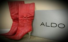 ALDO brand red leather boots with silver spike heel.  Originally $179...STEAL for only $55. Size 9.5