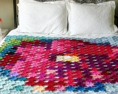 Pointillism Posie Crochet Pattern, Granny Square Flower Afghan Crochet Pattern, Blanket/Wall Hanging Pattern