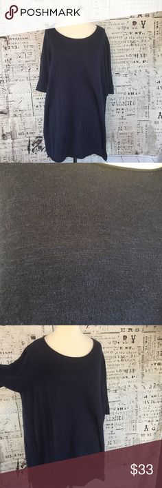 Eileen Fisher 2x Navy Blue Linen Boat Neck Sweater Eileen Fisher Women 2x Navy Blue Linen Boat Neck Thin Knit Sweater Top 56% linen  No rips, stains, tears or odors  Hand wash  Measurements in inches when laid flat:  Bust: 23 Length: 33     /344/ Eileen Fisher Sweaters