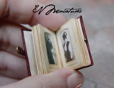 Miniature Leather Bound Photo Album in 1/12 scale.