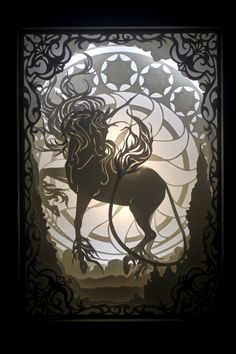 """Laser Cut Reproduction of """"Radiance"""" - 3d Paper Crafts, Paper Crafting, The Last Unicorn, Paper Light, Unicorn Art, Art Template, Paper Artist, Shadow Box, Watercolor Paper"""