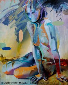 "Figure Art Painting - Artist Tim Parker ""Emotional Innocence"" Abstract Figurative Artwork Print"