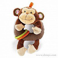 Toys - Rattle Around Monkey is a chubby fellow with a smiling face.  He has irresistible floppy arms and legs plus crinkles, rattles and textures galore.