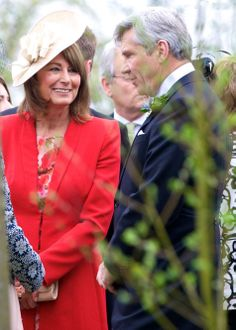 Carole Middleton and her husband Michael at the wedding of Rowena Macrae, very good friend of their daughter Pippa, and Julian Osborne in Perthshire, Scotland, on 26 April 2014.