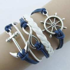 Blue Silver Anchor Infinite Nautical Bracelet