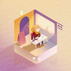 """좋아요 33개, 댓글 1개 - Instagram의 soohee(@sooh_eess)님: """"혜인이의 힐링섬☕️ 고양이가 있는 카페에서 그림 끼적이기 #둥둥섬시리즈 . . . . . . #힐링그림 #힐링 #illust #illustration #illustrator…"""""""