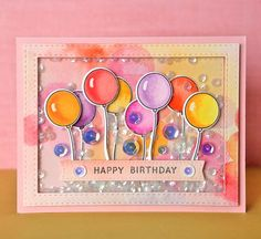 SSS Happy Birthday; SSS card kit May 2016 ; watercolor; balloons; bright; shaker