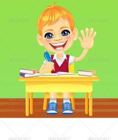 Vector happy smiling schoolboy graphicriver smiling happy schoolboy