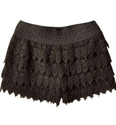 Black Layered Crochet Lace Shorts