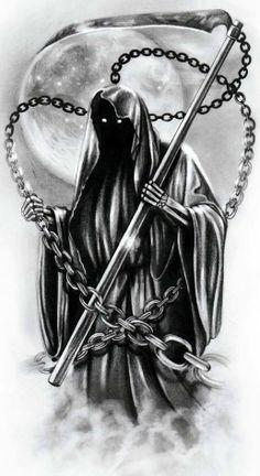 It's another death tattoo which I created Grim Reaper Art, Grim Reaper Tattoo, Don't Fear The Reaper, Evil Tattoos, Skull Tattoos, Body Art Tattoos, Tatoos, Dark Fantasy Art, Dark Art