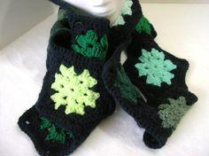 Crocheted Scarf  Green and Black Hexagons by crochetedbycharlene
