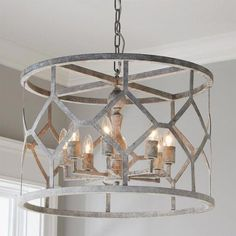 Jaw-dropping with the diamond pattern and drum shape, this pendant light is sure to glam up any space. The raw metal texture compliments the distressed finish. The metallic shine will intensify the gleaming light that creates the elegant reflections along Dining Room Light Fixtures, Kitchen Chandelier, Chandelier Lighting, Nautical Chandelier, Unique Chandelier, Foyer Chandelier, Chandelier Ideas, Iron Chandeliers, Contemporary Chandelier