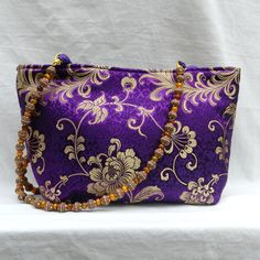 Purple Floral Silk Purse Beaded Handle by SewMuchFabric2010, $55.00