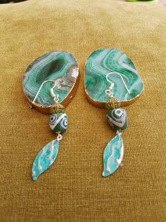 Glass lamp work earrings wood bead earrings by SweetgemsDesign