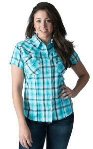 Panhandle Slim Women's Turquoise Plaid with Lurex Short Sleeve Western Shirt | Cavender's