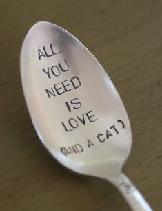 All You Need Is Love   and a cat     recycled silverware vintage silverware hand stamped spoon on Etsy, $17.00 AUD
