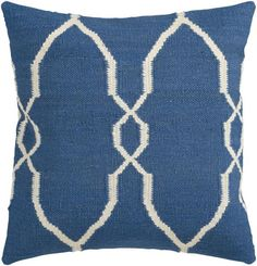 Looking for the perfect design to tie together your space? This is the pillow for you. Featuring a delicate diamond pattern, the cool blue and soft ivory emit e