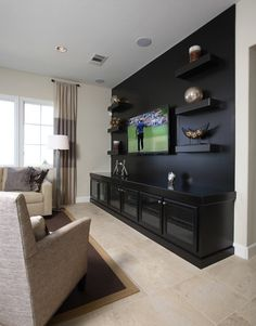 #60 - SummerHill - San Ramon traditional media room Paint wall same color as cabinet- match at lowe's or Home Depot