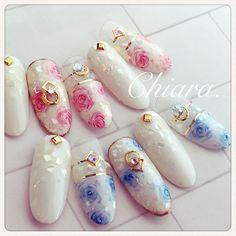 Summer. rose♡ nail(サンプルチップより✴︎) #flowernails#rose#rosenails#shell#pinknails#bluenails#cawaii#beautiful#beauty#nailart#gelnails#japannail#pinkroses#fashon#naildesign#nails#美甲#フラワーネイル#シェルネイル#フラワーネイル#ピンクネイル#ブルーネイルピンクローズ#ローズ#サマーネイル#夏ネイル#大人ネイル#ローズネイル#ネイルデザイン#ネイル#chiaranails