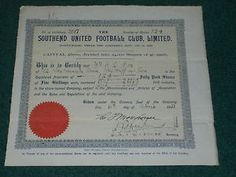 England, Southend United Football Club, Limited, 1933, 124 ordinary shares of 5/. each.