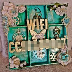 Altered woodbox with Golden Fluid Acrylic, Dina Wakley acrylic colors and Inca Gold