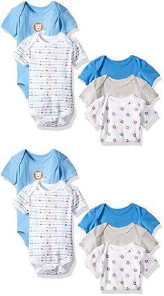 Rene Rofe Baby Boys' 5 Piece Shortsleeve Bodysuit Set, Cute Lion Blue, 0-3 Months
