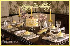 Happy Birthday Luncheon Table: Mini Cake Favors on http://pizzazzerie.com