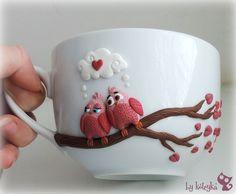 Cute pink birds - personalized mugs - custom mug - polymer clay mug - original decorated mug - ceramic cup - unique design mug Please, keep in mind, Polymer Clay Dolls, Polymer Clay Projects, Diy Clay, Porcelain Mugs, Ceramic Cups, Cold Porcelain, Mug Original, Clay Cup, Mug Art