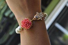 Hamsa Hand Rose Bracelet by Irisuniquejewelry on Etsy, $13.00