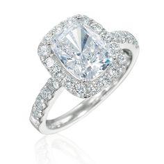 Amazing cushion cut rectangular diamond halo engagement ring from Armadani.  Would look so good on my finger!  RA672