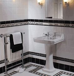 Perhaps my favorite art deco inspired room. Black and white always work in a b… Perhaps my favorite art deco inspired room. Black and white always work in a bathroom, don't they Bathroom ideasThe details that make a svPattern wallpaper in powd Casa Art Deco, Art Deco Tiles, Art Deco Bathroom, Bathroom Ideas, Design Bathroom, 1920s Bathroom, Tile Bathrooms, Bathroom Organization, Interiores Art Deco