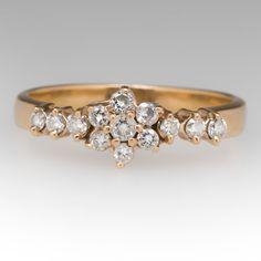 Ladies+Diamond+Flower+Ring+14K+Yellow+Gold