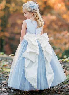 @pegeendotcom custom flower girl dress in light blue with Cinderella bow.