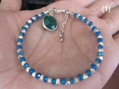 Neon Blue Apatite with Karen Hill Tribe Silver Beads Bracelet, FREE SHIPPING, custom size, pure silver Bracelet, Sterling silver bracelet