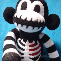 My most popular Sock Monkey. Macabre is the original Skeleton Sock Monkey. Macabre The Skeleton Sock Monkey Softies, Plushies, Halloween Socks, Sock Monster, Sock Dolls, Sock Animals, Clay Animals, Monkey Business, T Rex