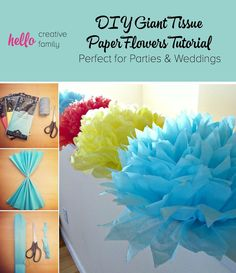 Learn to make DIY Giant Tissue Paper Flowers in minutes for 50 cents a flower with this easy project tutorial. Create a huge impact at you party or wedding.