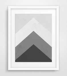 Geometric Print, Grey Mountain Triangle, Arrow Wall Art, Black and White, Printable Art, Download, Wall Print, Geometric Art, Mountain Print