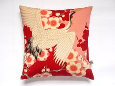 "Japanese Red & Pink Vintage Silk Kimono Cushion Pillow 'Cherry Blossom Crane' (12"" x 12"", 1960's)"