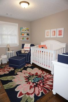 Project Nursery - Navy and Coral Nursery