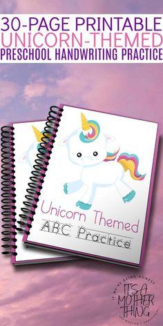 Printable Unicorn Preschool Handwriting Practice