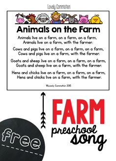 love our farm thematic unit during preschool! Here is one of the songs we sing, print if off for free!We love our farm thematic unit during preschool! Here is one of the songs we sing, print if off for free! Farm Animals Preschool, Preschool Music, Preschool Lessons, Free Preschool, Preschool Ideas, Teaching Ideas, Farm Animal Songs, Farm Songs, Baby Animals Songs