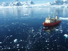 The Research Vessel NATHANIEL B. PALMER in Barilari Bay, Antarctic Peninsula. The NBP is on a two-month science expedition to the Larsen B Embayment once occupied by a major ice shelf. In 2002, the ice shelf collapsed in a million pieces, leaving only a shard of the Larsen B Ice Shelf and a rapidly changed ecosystem in its wake. The ice shelf had been in place for at least 10,000 years. Sea Level Rise, Greenhouse Gases, What A Wonderful World, Antarctica, Global Warming, Photo Library, Wonders Of The World, Airplane View, Waves