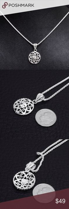 """Sterling Silver Filagree Pendant & Chain Chain Stamped """"925"""" Size 24 inches. Pendant stamped """"925"""".   This is not a stock photo. The image is of the actual article that is being sold  Sterling silver is an alloy of silver containing 92.5% by mass of silver and 7.5% by mass of other mThe sterling silver standard has a minimum millesimal fineness of 925.   All my jewelry is solid sterling silver. I do not plate.   Crafted in Taxco, Mexico  Will ship within 2 days of order. Jewelry Necklaces"""