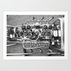 Flathead - A fine art photo print from Adam Bendig Photography. A Hilborn injected Ford flathead in a coupe at the 2012 Mooneyes Xmas Car Show and Drag Race #hotrod #flathead #blackandwhite