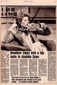 David Bowie interview by Charles Shaar Murray Published in New Musical Express – January 27, 1973