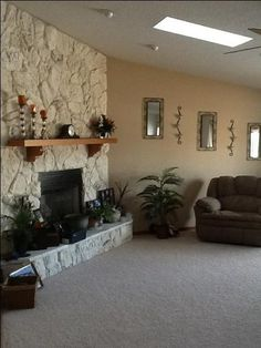 Lava rock fireplace makeover - Think I Need To Paint My Fireplace Rock Like This