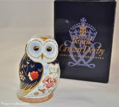 Royal Crown Derby Paperweight Daybreak Owl Imari Style Original Box | eBay