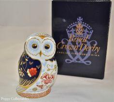 Royal Crown Derby Paperweight Daybreak Owl Imari Style Original Box   eBay
