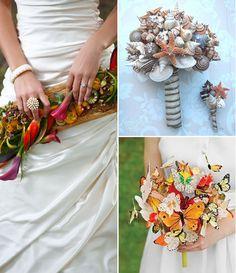 Alternative Wedding Bouquets - Bridal Bouquets - Flowers - Shells - Butterflies - Favourite Things